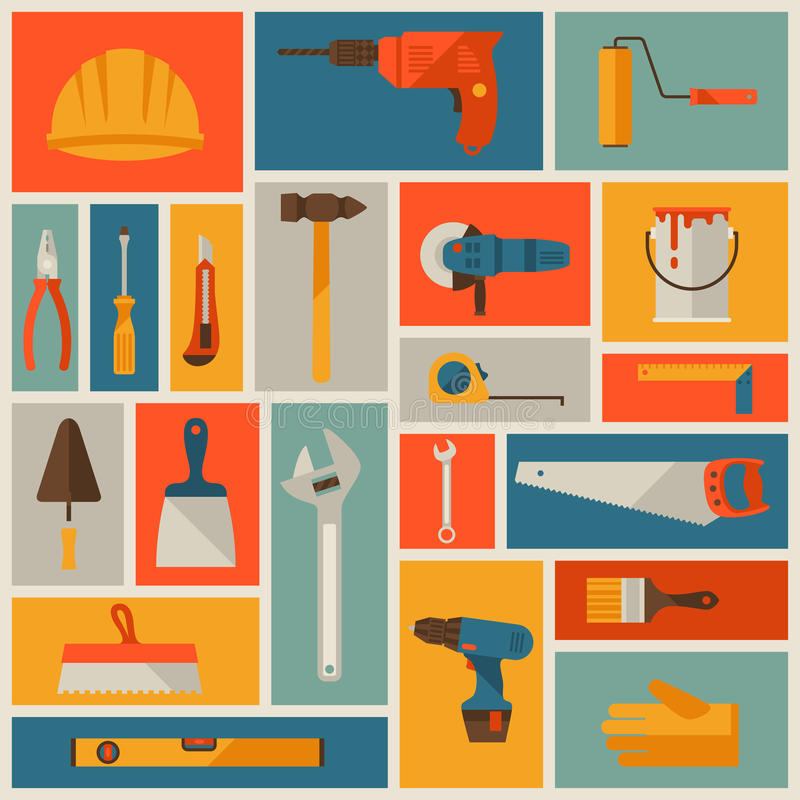 Repair and construction working tools icon set royalty free illustration