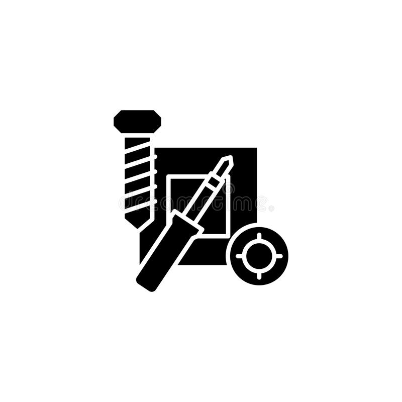 Repair of electronics black icon concept. Repair of electronics flat vector symbol, sign, illustration. vector illustration