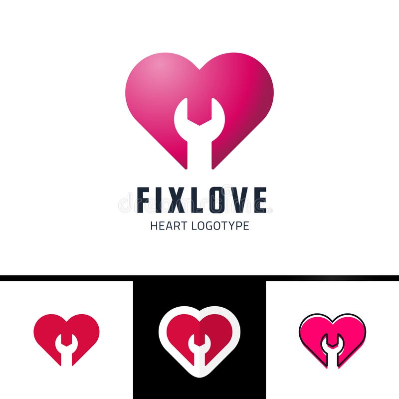 Repair or fix Love heart Vector Logo Design Element royalty free illustration