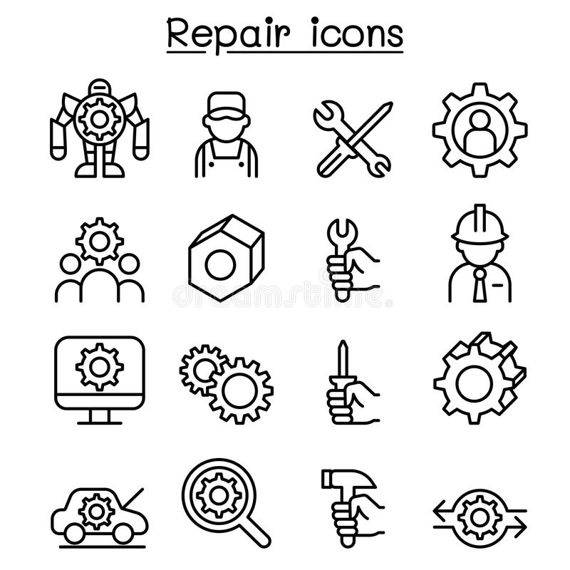 Repair, Fixing & maintenance icon set in thin line style vector illustration