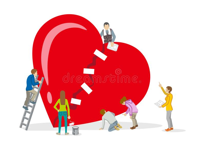 Broken Heart Repair Concept Stock Illustration