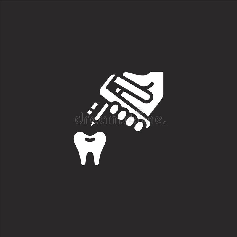 Repair icon. Filled repair icon for website design and mobile, app development. repair icon from filled dental collection isolated. On black background vector illustration