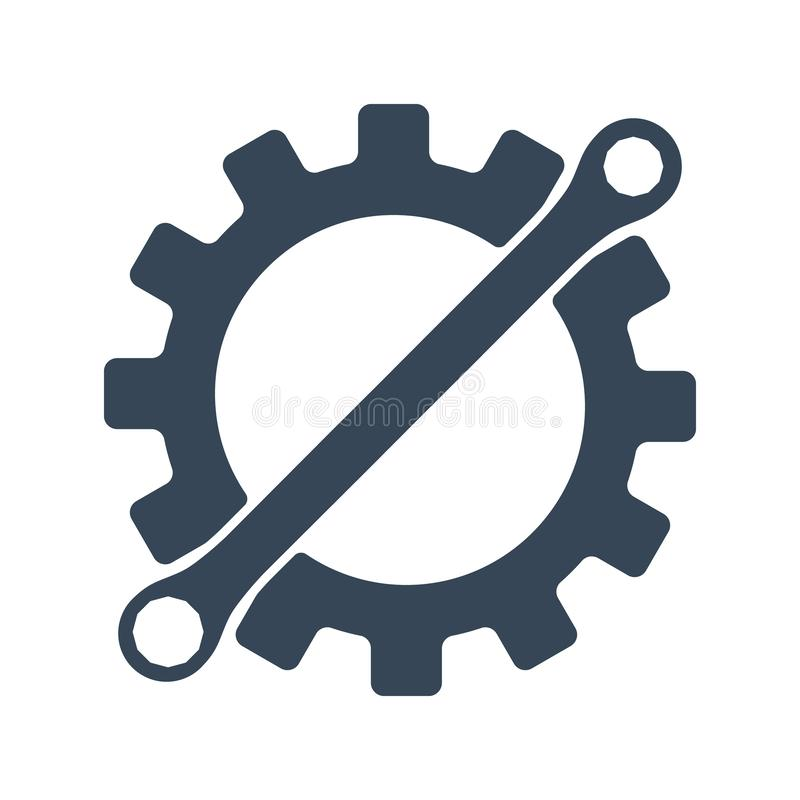 Repair icon. Gear and wrench. Creative graphic design logo element. Vector illustration isolated on white background. vector illustration