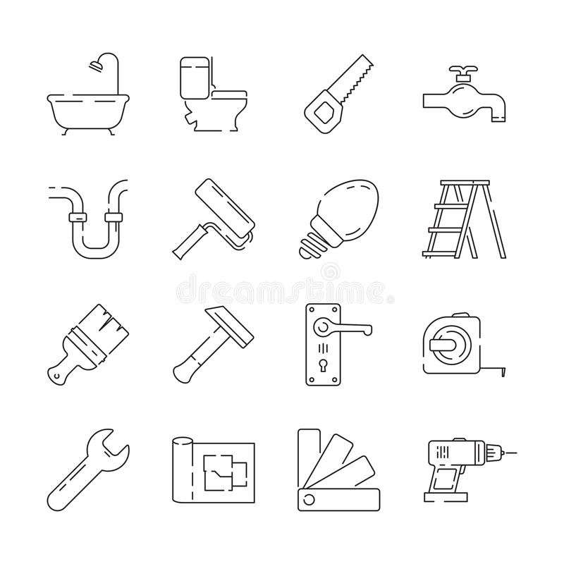 Repair icon. Support service building construction tools fast supplies vector linear items royalty free illustration