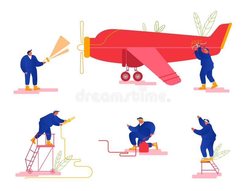 Repair and Maintenance of Aircraft Set. Mechanic Engineers Repairing and Inspecting Airplane Pumping Chassis royalty free illustration
