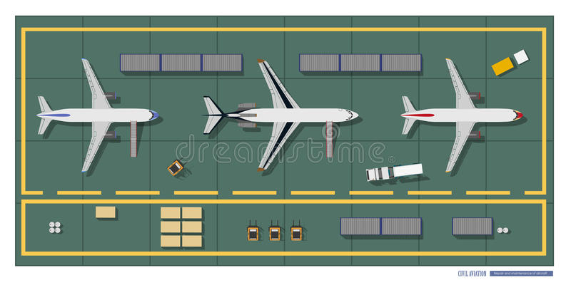 Repair and maintenance of aircraft. Top view of workshop. Industrial drawing in a flat style. Vector illustration royalty free illustration