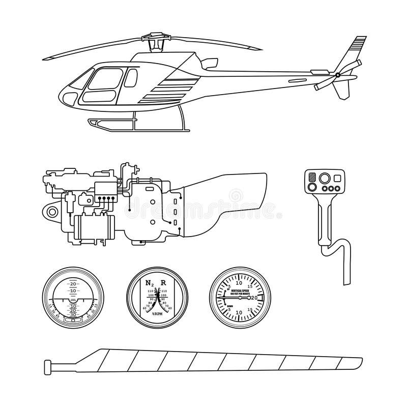 Repair and maintenance of the helicopter. Set of parts of helicopter on a white background. Contour drawing. Vector illustration stock illustration