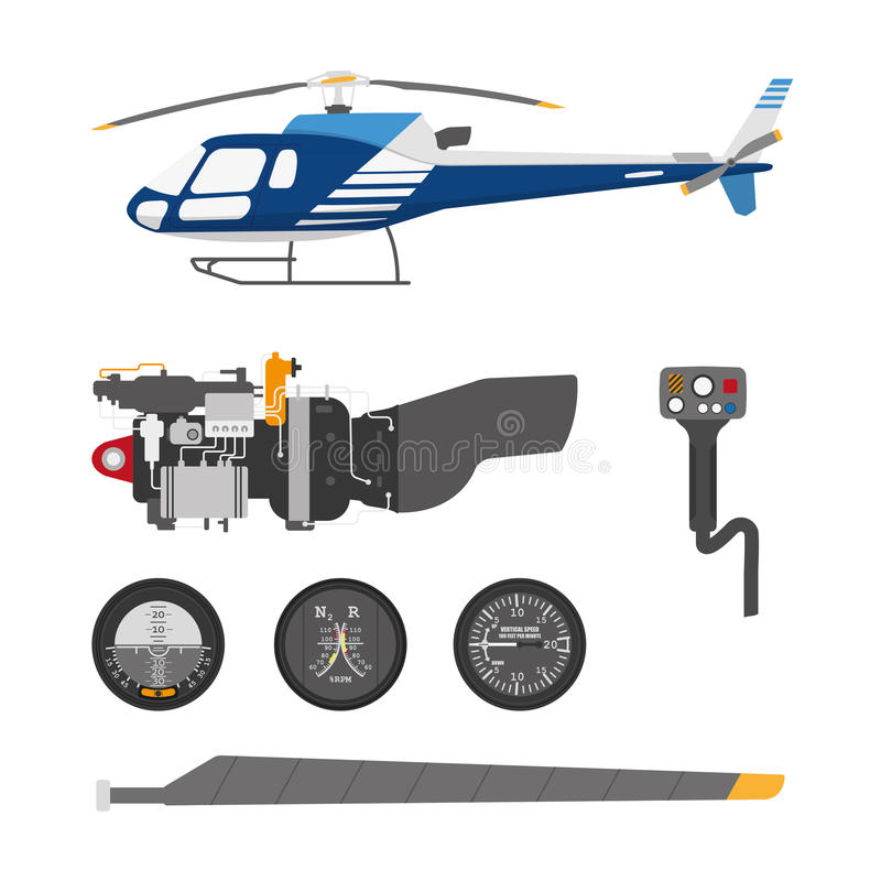 Repair and maintenance of the helicopter. Set of parts of helicopter on a white background. Vector illustration royalty free illustration