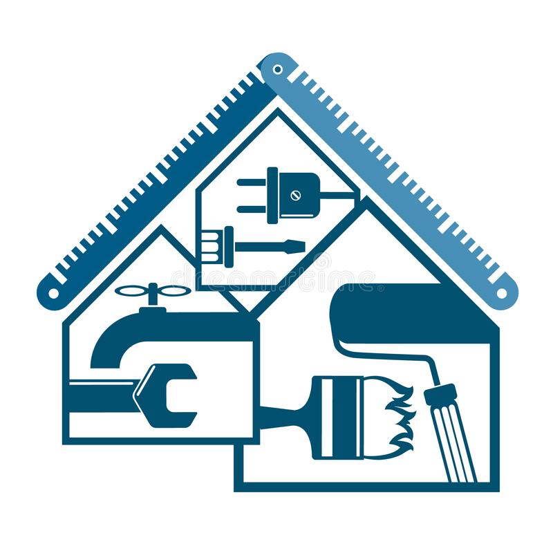 Repair and maintenance at home. Repair and maintenance of home symbol for business vector illustration