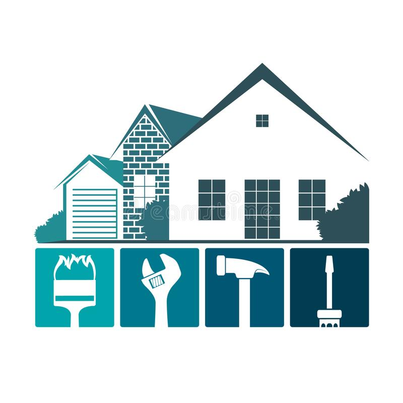 Repair of home design. Repair and maintenance of home with tool design stock illustration