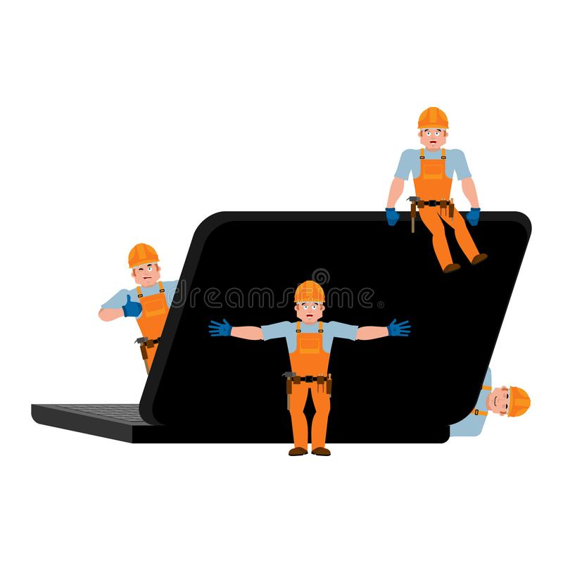Repair and maintenance of laptop. Computer service. repairs team stock illustration