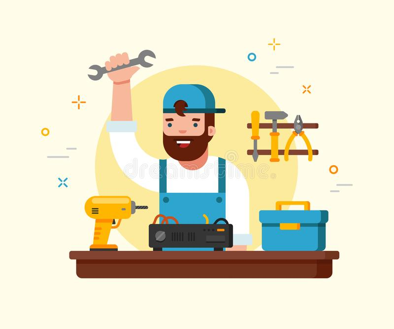 Repair man flat illustration. Happy mechanic repairs the things behind the table. Flat-styled illustration royalty free illustration