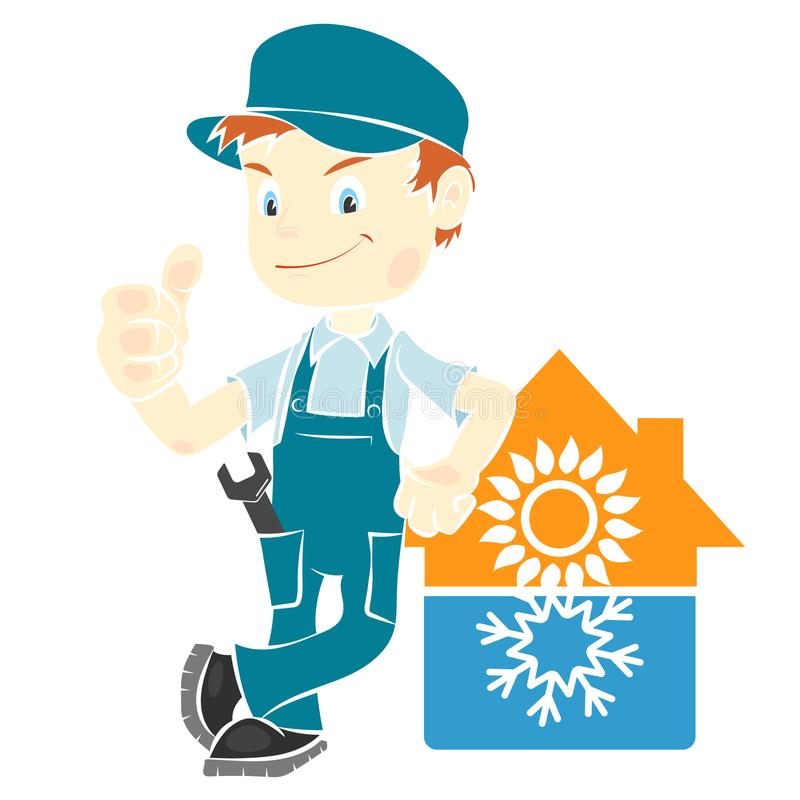 Repair man for installing air conditioning royalty free illustration