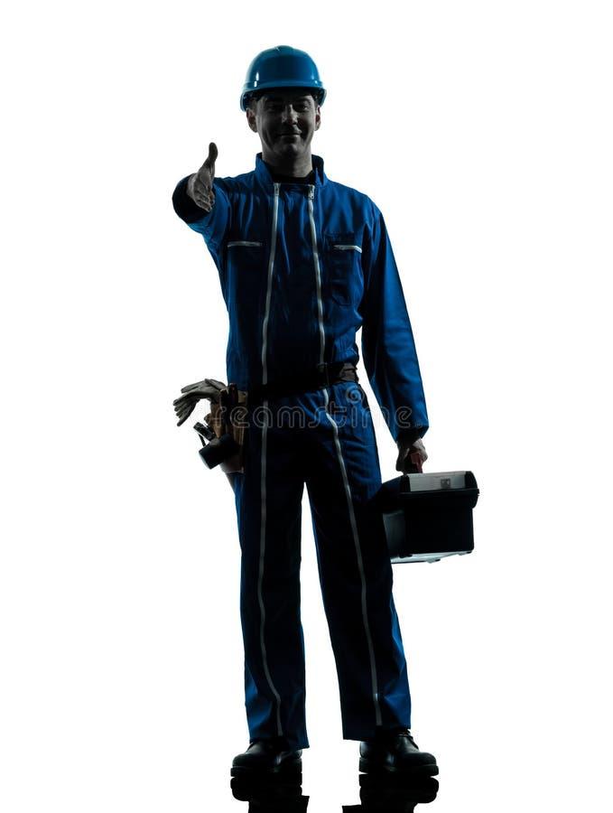 Repair man worker saluting silhouette stock image