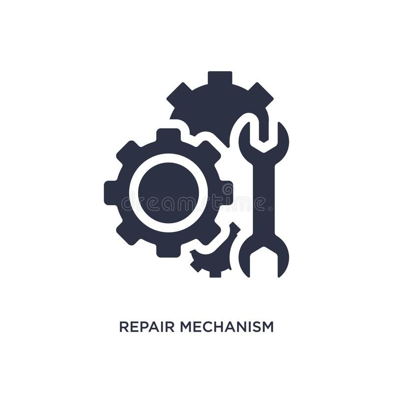 Repair mechanism icon on white background. Simple element illustration from mechanicons concept. Repair mechanism icon. Simple element illustration from vector illustration