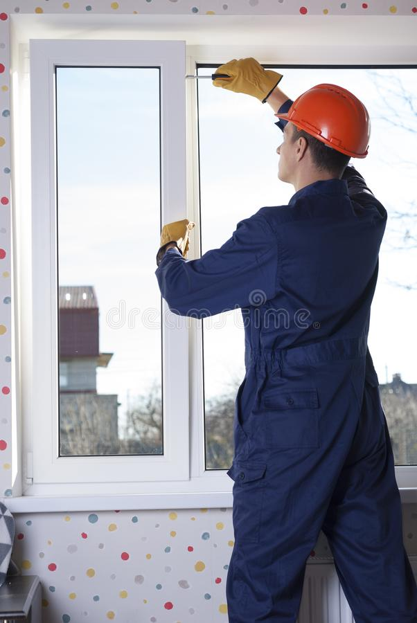 Repair of plastic windows royalty free stock photo