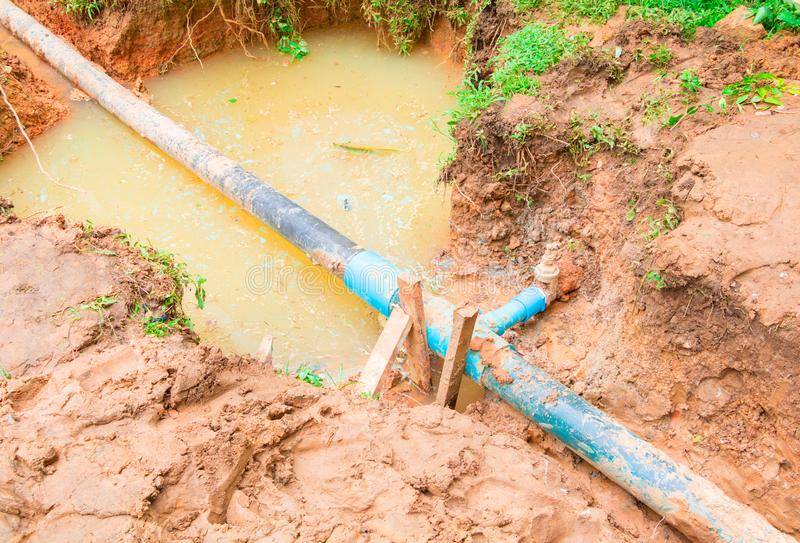PVC Pipe With A Water Leak  Stock Image - Image of equipment