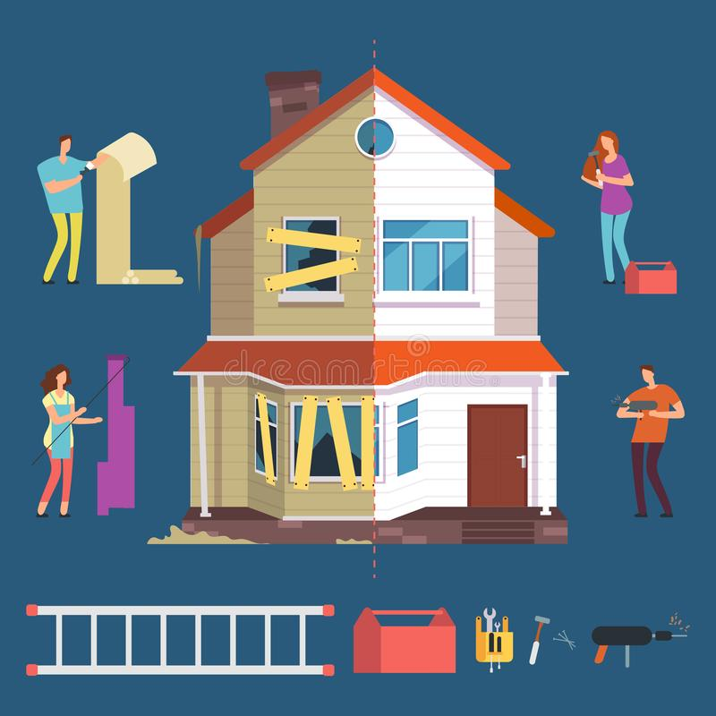 Repair and renovation house vector concept. People with tools characters royalty free illustration
