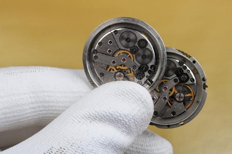 Repair and restoration of old mechanical watches royalty free stock photography