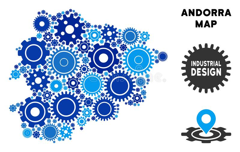 Composition Andorra Map of Gears. Repair Service Andorra map composition of gears. Abstract territorial scheme in blue color tinges. Vector Andorra map is made royalty free illustration