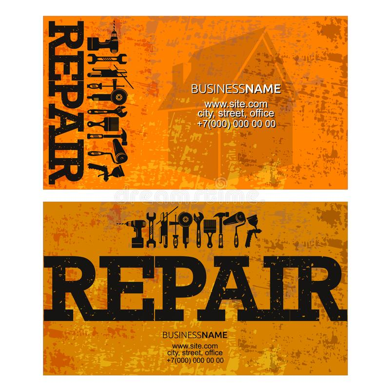 Repair and service business card. Repair and maintenance of the instrument with a set of business card stock illustration