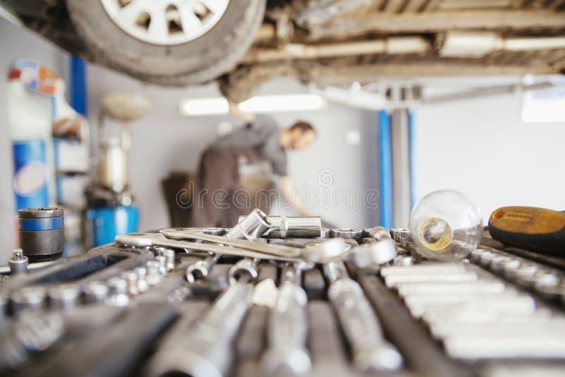 In Repair Service. Close Up Of Tools In Car Repair Service royalty free stock image
