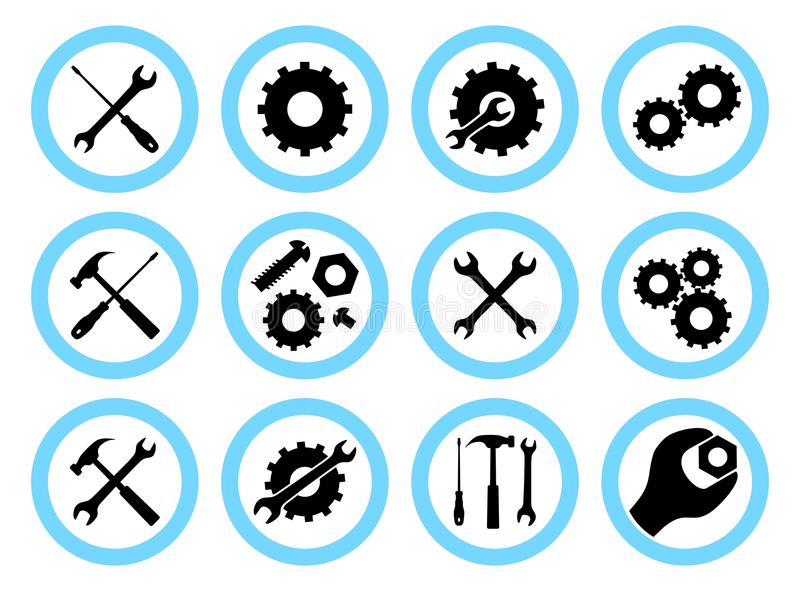 Repair service concept. Simple icons set: wrench, screwdriver, hammer and gear. Services icon or button on. Repair service concept. Icons set: wrench vector illustration