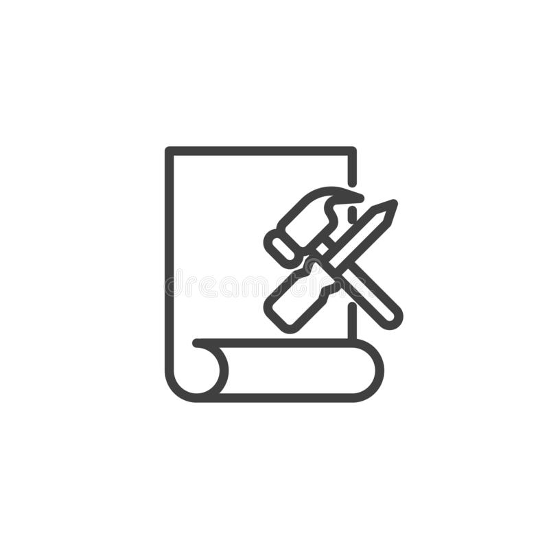 Repair service line icon. Linear style sign for mobile concept and web design. Paper document with hammer and screwdriver outline vector icon. Symbol, logo royalty free illustration