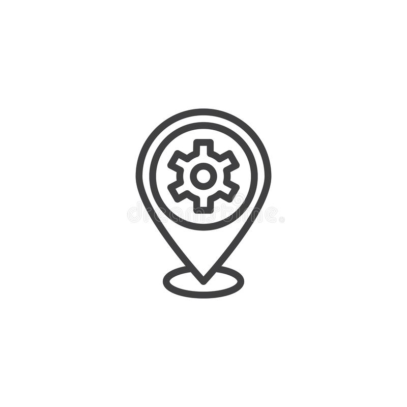 Repair service location outline icon. Linear style sign for mobile concept and web design. Map Pointer Gear simple line vector icon. Symbol, logo illustration stock illustration
