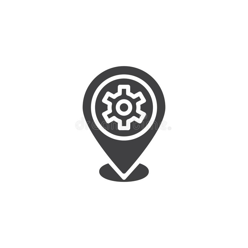Repair service location vector icon. Filled flat sign for mobile concept and web design. Map Pointer Gear simple solid icon. Symbol, logo illustration. Pixel royalty free illustration