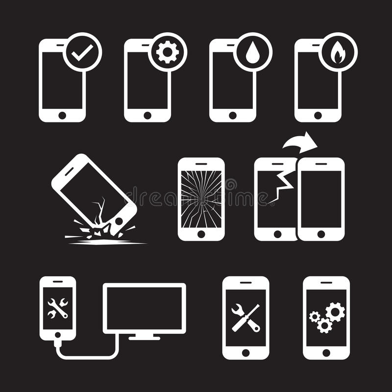 Repair, service and maintenance mobile or smart phone icons set vector illustration