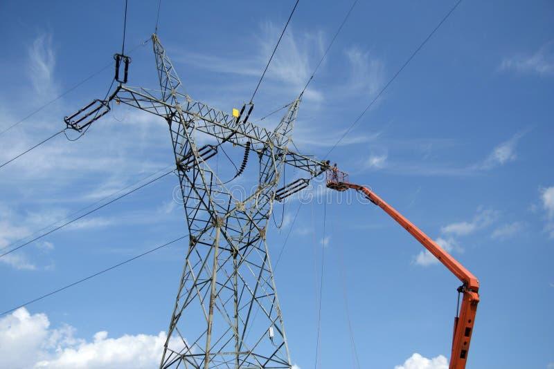 Download Repair Service On Power Pylon Stock Image - Image: 10487187