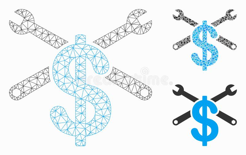 Repair Service Price Vector Mesh Carcass Model and Triangle Mosaic Icon. Mesh repair service price model with triangle mosaic icon. Wire carcass triangular mesh stock illustration