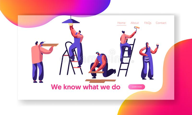 Repair Service Professional Worker Landing Page. Human Change Light Bulb, Paint Wall, Lay Laminate, Keep Hand Drill. Renovation. Team Work in Room Website or royalty free illustration