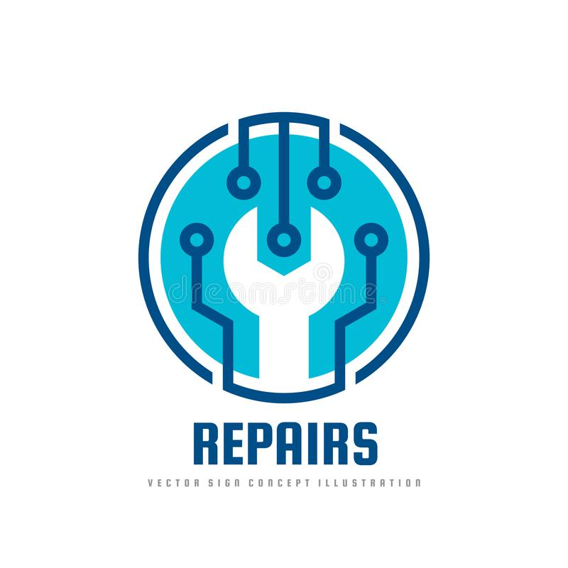 Repair service vector logo template concept illustration. Wrench symbol. Abstract technology electronic sign. Design element.  stock illustration