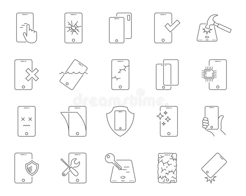 Repair of smartphones icons set. Breakage and protection of the smartphone, thin line design. Repair Center. Editable royalty free illustration