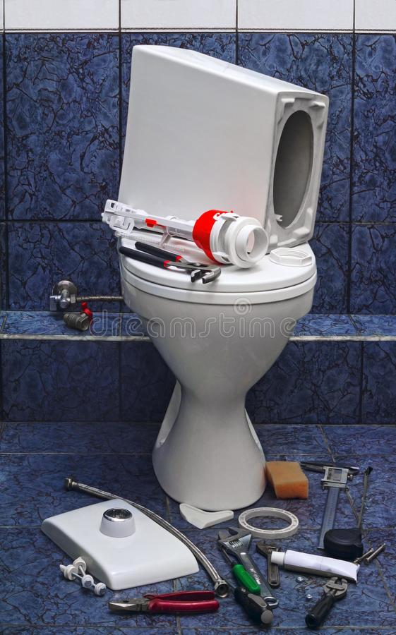 Repair toilet royalty free stock image