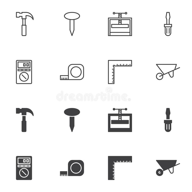 Repair tool icon set, line and glyph version. Outline and filled vector sign. linear and full pictogram. Symbol, logo illustration. Set includes icons as royalty free illustration