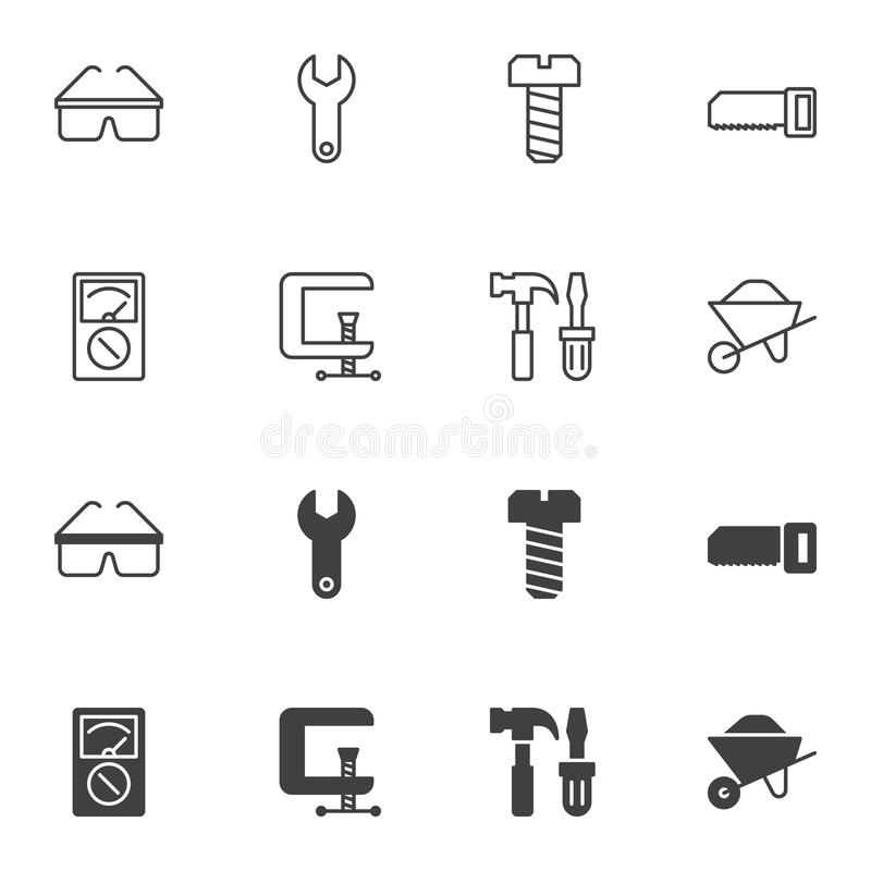 Repair tool icon set, line and glyph version. Outline and filled vector sign. linear and full pictogram. Symbol logo illustration. Set includes icons as clamp vector illustration