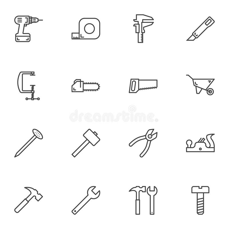 Repair tool line icons set. Linear style symbols collection, outline signs pack. vector graphics. Set includes icons as electric drill, screwdriver, measure stock illustration