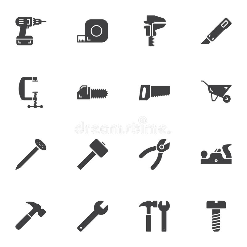 Repair tool vector icons set. Modern solid symbol collection, filled style pictogram pack. Signs logo illustration. Set includes icons as electric drill vector illustration