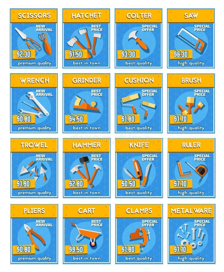 Repair tools and equipment price labels stock illustration