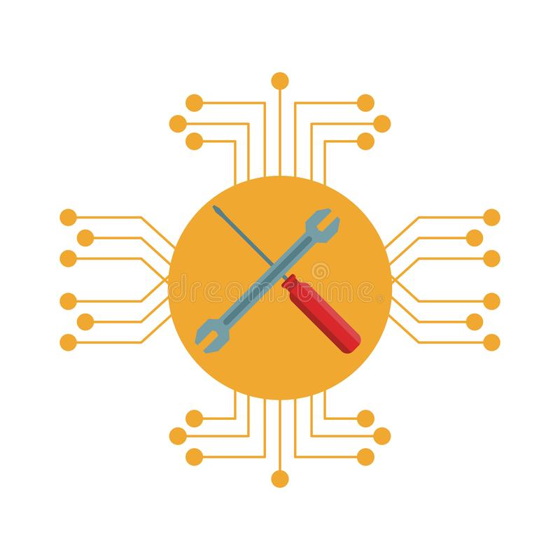 Repair tools icon. Electronic circuit in white background stock illustration