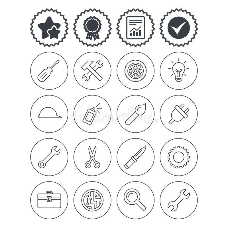 Repair tools icons. Hammer with wrench key. Report, check tick and award signs. Repair tools icons. Hammer with wrench key, wheel and brush. Screwdriver stock illustration