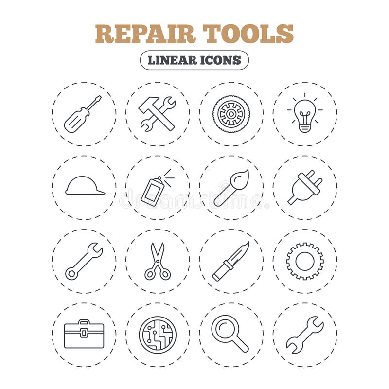 Repair tools icons. Hammer with wrench key. Repair tools icons. Hammer with wrench key, wheel and brush. Screwdriver, electric plug and scissors. Circuit board vector illustration