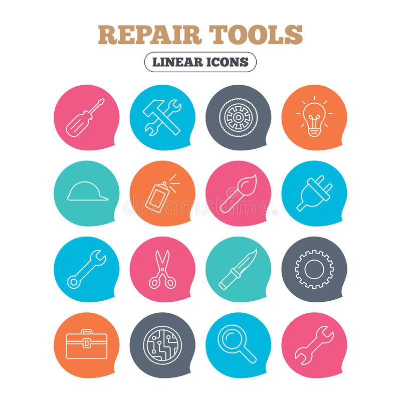 Repair tools icons. Hammer with wrench key. Repair tools icons. Hammer with wrench key, wheel and brush. Screwdriver, electric plug and scissors. Circuit board royalty free illustration