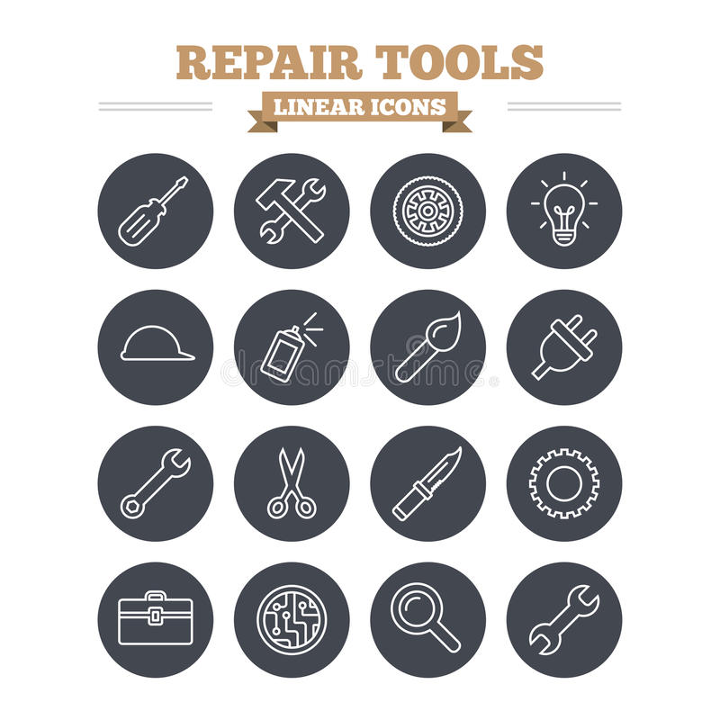 Repair tools linear icons set. Thin outline signs. Repair tools linear icons set. Hammer with wrench key, wheel and brush. Screwdriver, electric plug and vector illustration