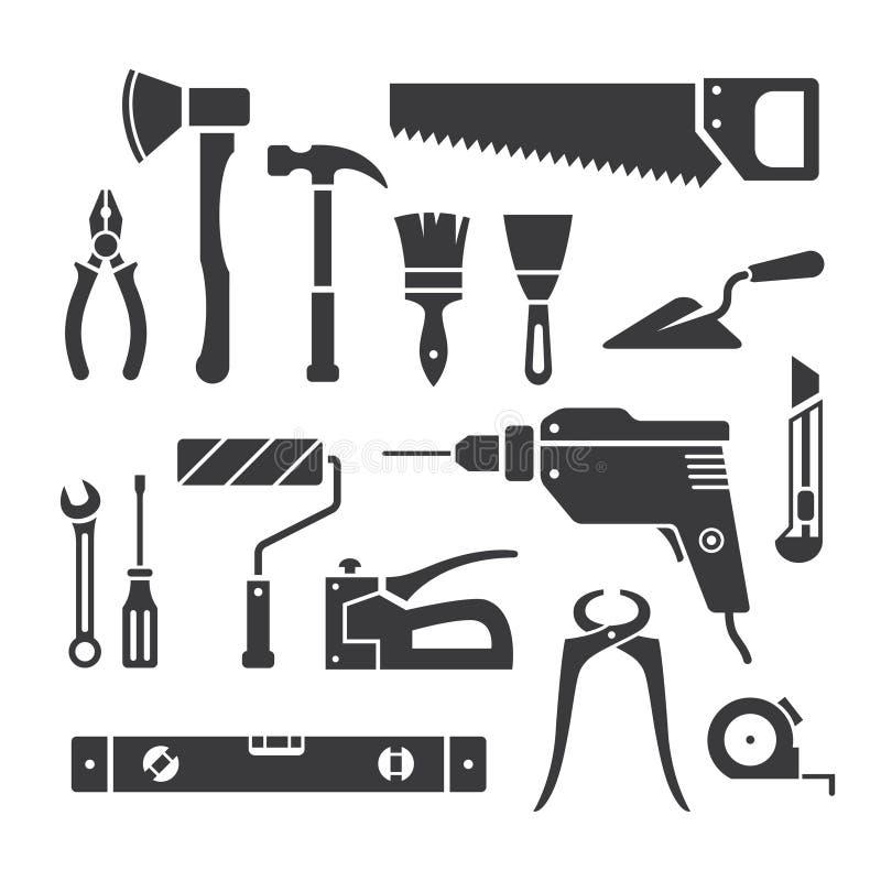 Repair tools. Set of repair tools icons in vector stock illustration