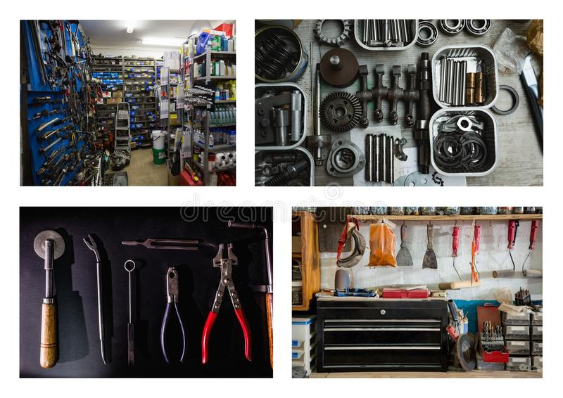 repair tools and workshop collage royalty free stock photography