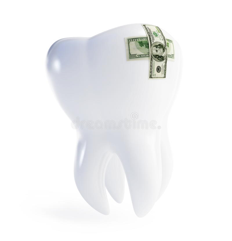 Repair a tooth patch on the dollar stock illustration